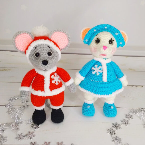 Вязаные игрушки Дед Мороз и Снегурочка, мышки, цена 770 грн. | DIPI
