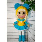 Вязаная кукла ручной работы в желто-голубом купить