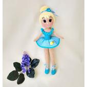 Вязаная кукла балерина в голубом платье купить недорого Украина