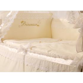 Детский комплект в кроватку ПРИНЦЕССА из сатина ванильный 4