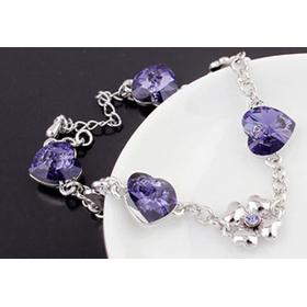 Белый браслет ЦВЕТОЧНОЕ СЕРДЦЕ с кристаллами Сваровски фиолет купить Украина