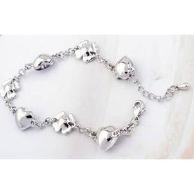Белый браслет ЦВЕТОЧНОЕ СЕРДЦЕ с кристаллами Сваровски