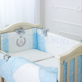 Детский постельный комплект в кроватку De Lux голубой 3