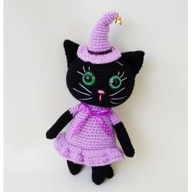 Вязаная игрушка Кошка-ведьмочка купить Украина