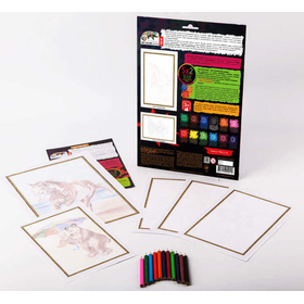 Раскраски с карандашами по номерам набор PBN-01-03 купить