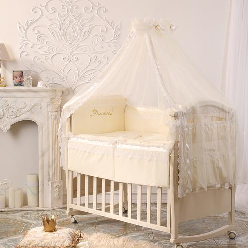 Детский комплект в кроватку ПРИНЦЕССА из сатина ванильный