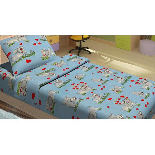 Детский постельный комплект DOGI голубой