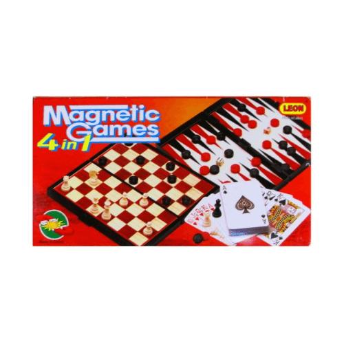 Игровой набор (4 в 1) - шахматы, шашки, нарды, карты