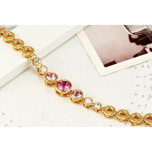 """купить позолоченный браслет камни сваровски """"Лабиринт"""", розовый"""