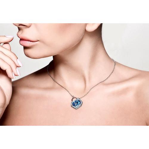 Колье ВЕРОНА голубое с кристаллами Сваровски