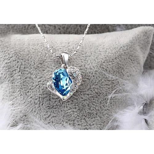 """Кулон """"Сердце Swarovski"""", голубой"""