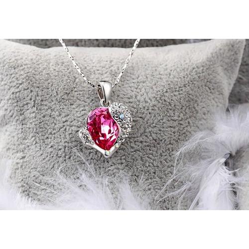 "Кулон ""Сердце Swarovski"", розовый"