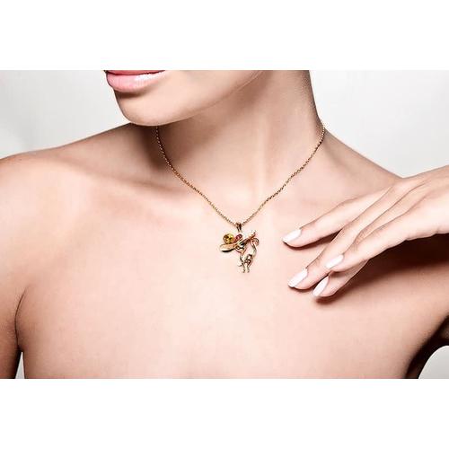 Модная кошка - кулон (gold) с кристаллами Сваровски