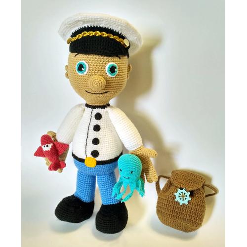 Вязаная мягкая игрушка в комплекте КАПИТАН-ПИЛОТ купить
