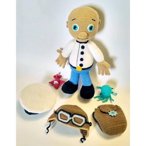 Вязаная мягкая игрушка в комплекте КАПИТАН-ПИЛОТ