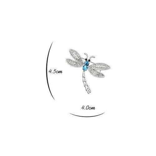 Брошь СТРЕКОЗА голубая с кристаллами Сваровски
