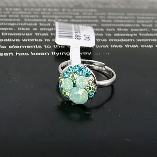 """Кольцо """"Аквамариновое"""" с камнями Сваровски"""