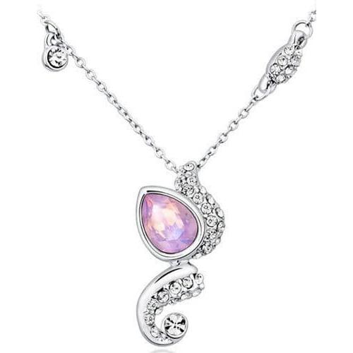 Комплект бижутерии ОЧАРОВАНИЕ с камнями Сваровски,  розовый