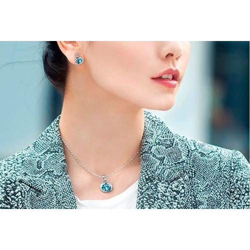 Комплект бижутерии ВСПЛЕСК Swarovski с камнями Сваровски,  голубой