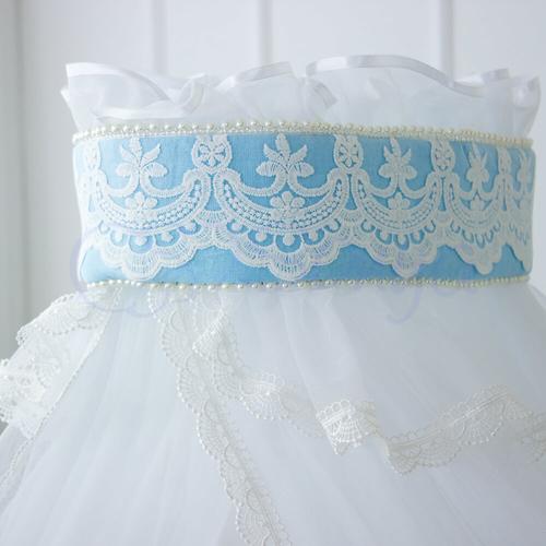 Детский постельный комплект в кроватку De Lux голубой балдахин