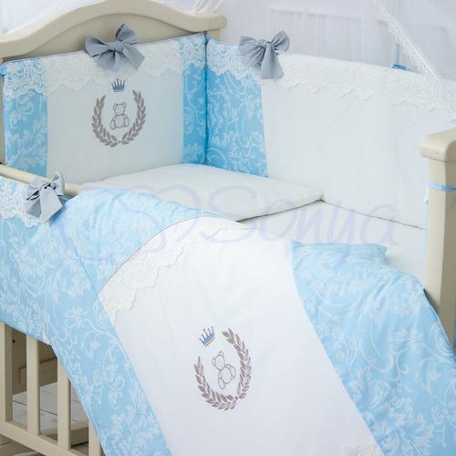 Детский постельный комплект в кроватку для новорожденного De Lux голубой