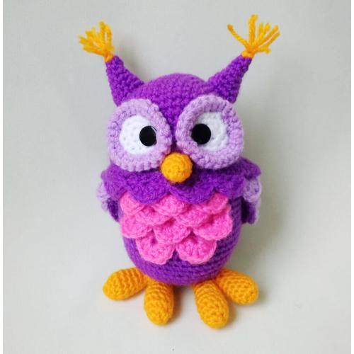 Умная Сова вязаная игрушка фиолетового цвета