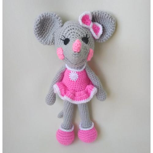 Игрушка Мышка-девочка розовая