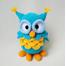 Умная Сова вязаная игрушка для детей голубого цвета